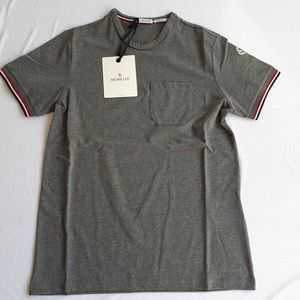 MONCLER GREY MEN T-SHIRT WITH POCKET